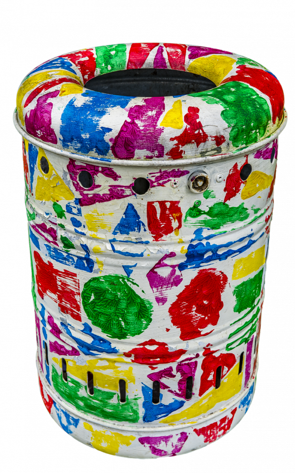 garbage can, colorful, color